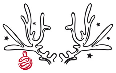 Elch, Rentier, Geweih mit Weihnachtskugel