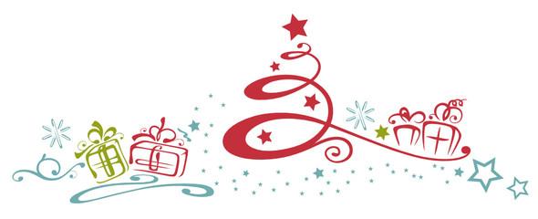 Abstrakter Weihnachtsbaum mit Geschenken