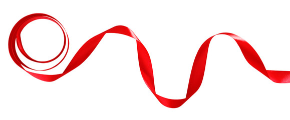 Shiny red ribbon isolated on white