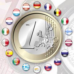 Euro 18 Staaten mit 1 Euro auf Geldscheinen, Münzen und Kompass