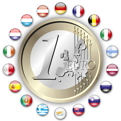 Euro 18 Staaten mit 1 Euro auf weißem Hintergrund