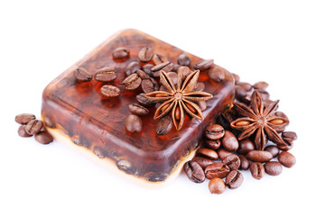 Organic soap with coffee beans, isolated on white