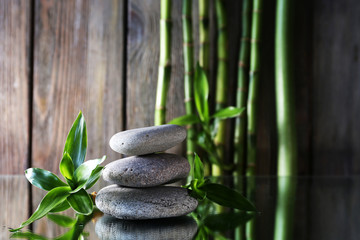 Spa stones and bamboo branches