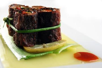 Vegetarian roll on bambool leaf
