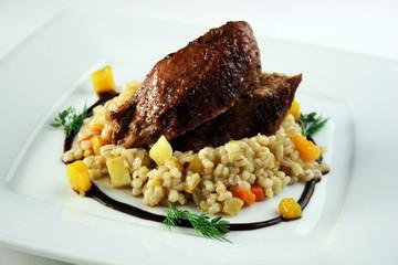 Pork with barley groats