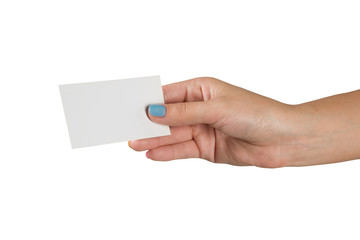 female hand with multicolored manicure holding a business card