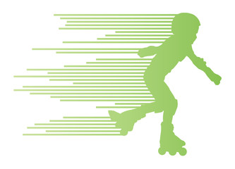 Roller skating silhouettes vector background winner concept