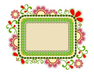 Beautiful frame made of floral elements