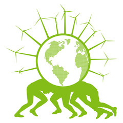 People holding ecology planet with wind generators on it vector
