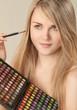 canvas print picture - Junges Mädchen beim schminken