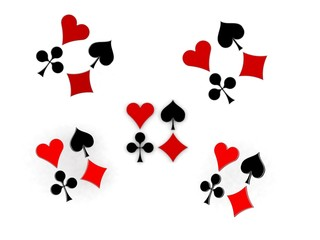 Glossy symbols of playing cards 3d image