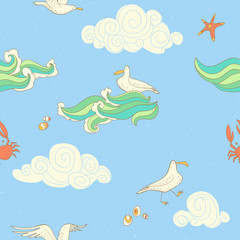 seamless pattern with gulls and clouds