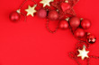 canvas print picture - Christmas decorations on red background