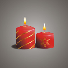 Christmas candles with gold lines and snowflake