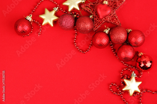 canvas print picture Christmas decorations on red background