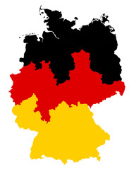 Germany map with flag colour