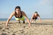 Push ups on a beach