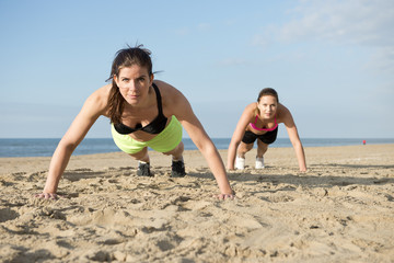 Push ups on a beach