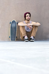 Relaxing skateboarder