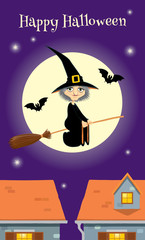 Halloween greeting card, witch flying over a town