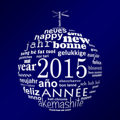 2015 new year multilingual greeting card christmas ball