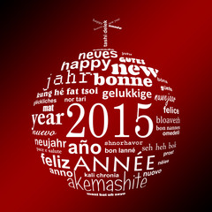 2015 new year multilingual greeting card