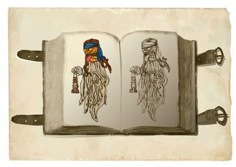 open book, pumpkin witch