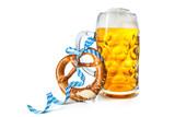 Fototapety Bavarian beer mug with pretzel