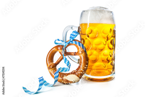 Bavarian beer mug with pretzel