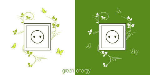 Electric socket with green leaves. Eco friendly energy concept