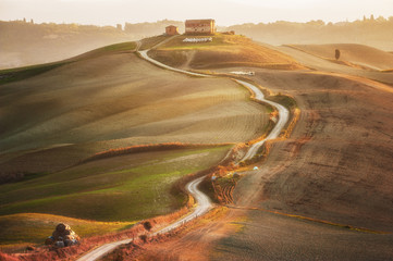 Tuscan landscape painted autumn light, Italy