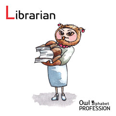 Alphabet professions Owl Letter L - Librarian character Vector