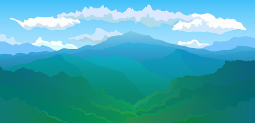Vector illustration. Panoramic view of the mountain range