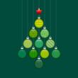 Christmas Tree Hanging Balls Pattern Green/Silver