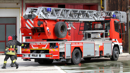 truck of Italian firefighters during exercise in fire station