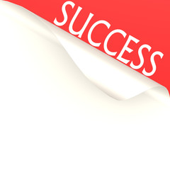 Success word with white paper