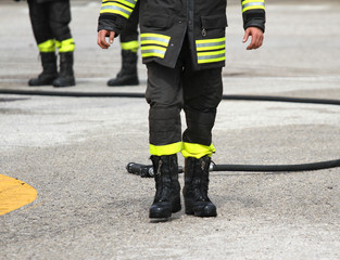 protective boots of a firefighter after switching off the fire