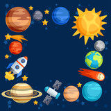 Fototapety Background of solar system, planets and celestial bodies.