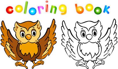 Funny cartoon owl coloring book