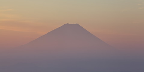 Top of mountain Fuji in sunrise time