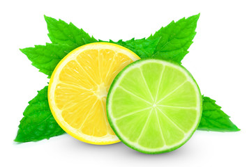 lemon with lime slice and mint