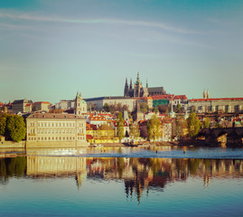 View of Mala Strana and Prague castle over Vltava
