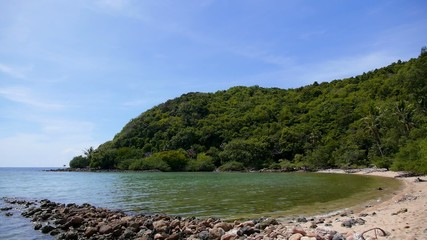 Beautiful Rocky Shore of Tropical Island. Scenic Bay.