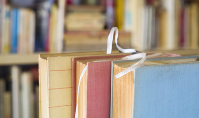 books close up, narrow focus