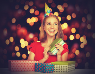 beauty girl with gift boxes to Christmas or birthday