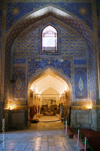 Fotobehang Marokko interior of ancient Tillya Kary Madrassah in Samarkand