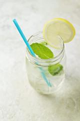 Lemon Mint Cocktail in Mason Jar