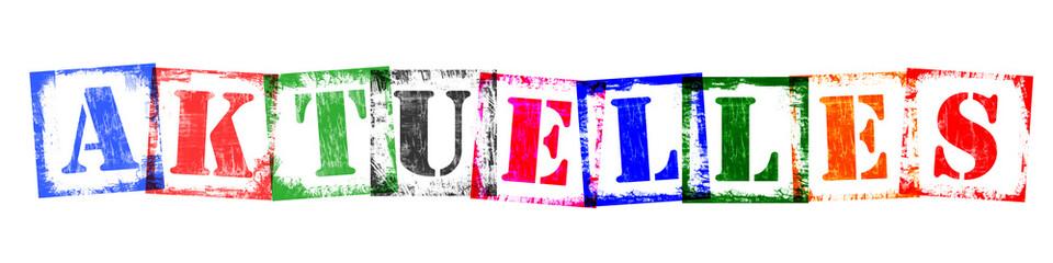 Wort Aktuelles aus Buchstaben Stempeln, Retro Grunge Design