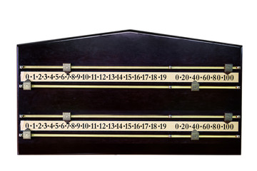 A wood and brass snooker score board