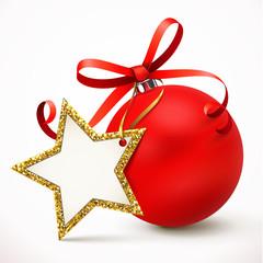 Rote Weihnachtskugel mit Schleife u. Stern-Etikett